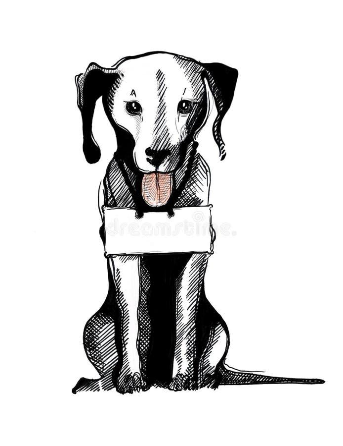 Hond met een hond-Markering royalty-vrije illustratie