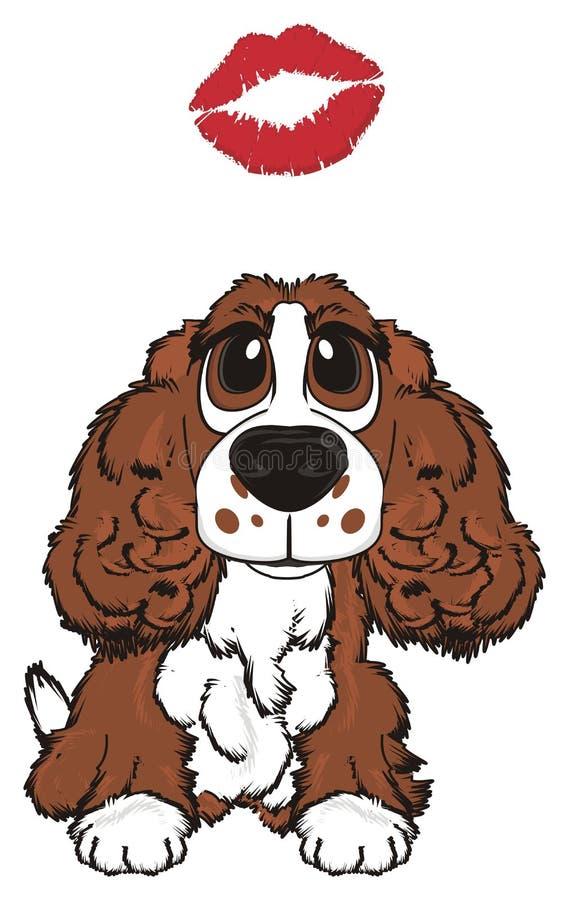 Hond met een kus stock illustratie