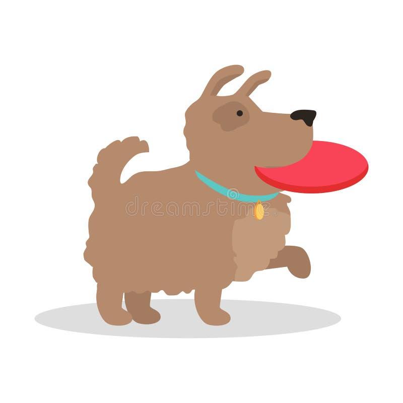 Hond met frisbeeillustratie in Vlak Ontwerp vector illustratie