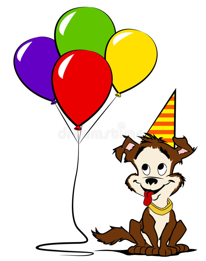 Hond met gekleurde ballons en partijhoed royalty-vrije stock foto
