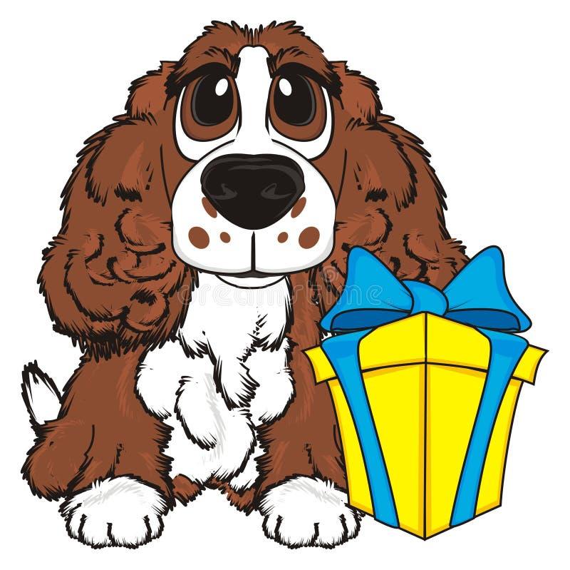 Hond met gift vector illustratie
