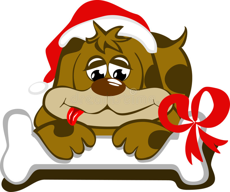 Hond met GLB van santa en zijn been royalty-vrije illustratie