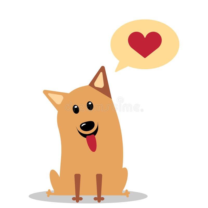 Hond met hart in gedachte wolk vector illustratie