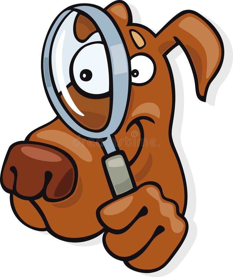 Hond met het kijken glas vector illustratie