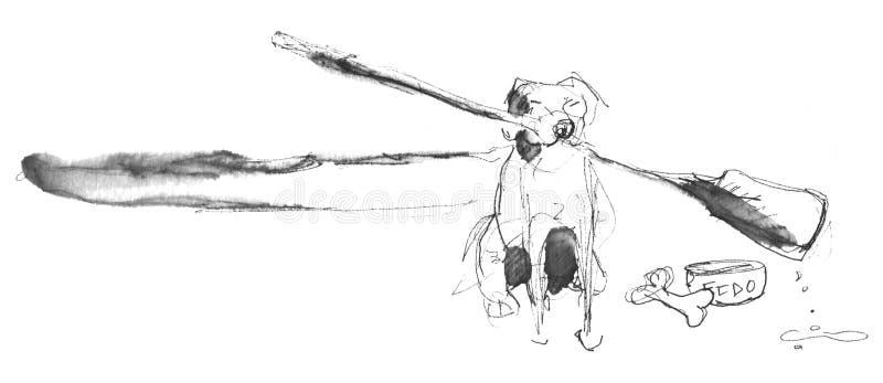 Hond met roeispaan vector illustratie
