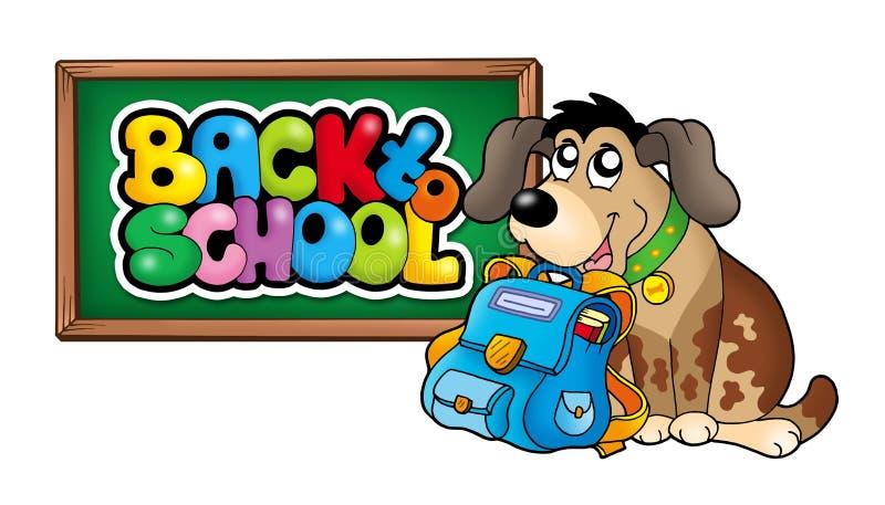 Hond met schooltas en bord stock illustratie