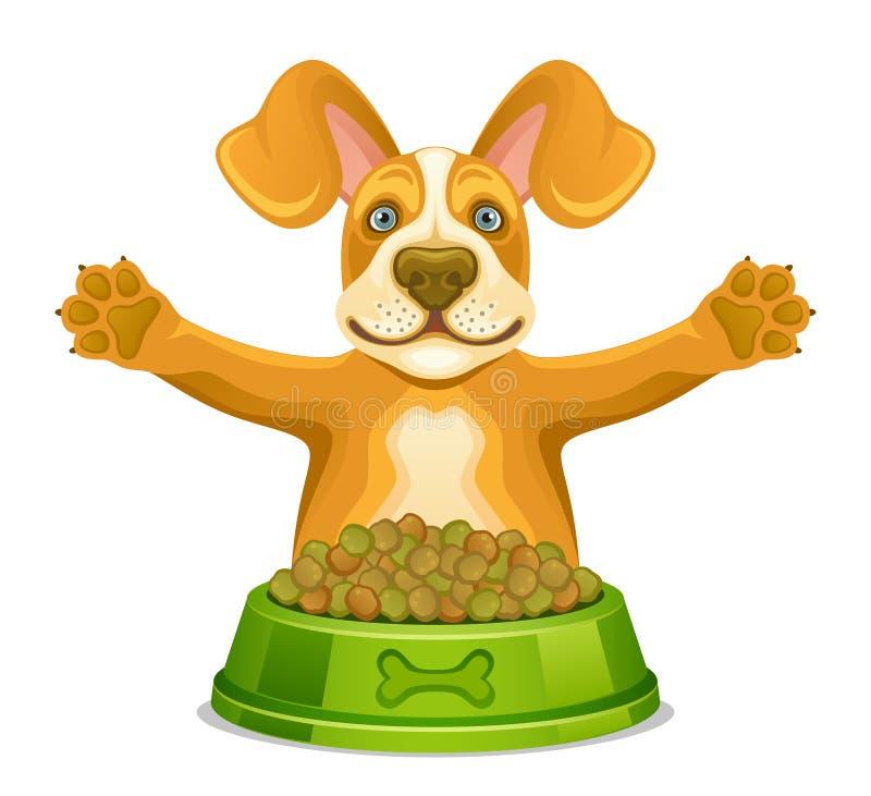 Hond met voer royalty-vrije illustratie