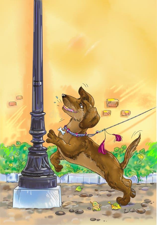 Hond op een leiband vector illustratie