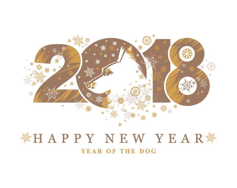 Hond 2018 symbool op de Chinese kalender stock illustratie