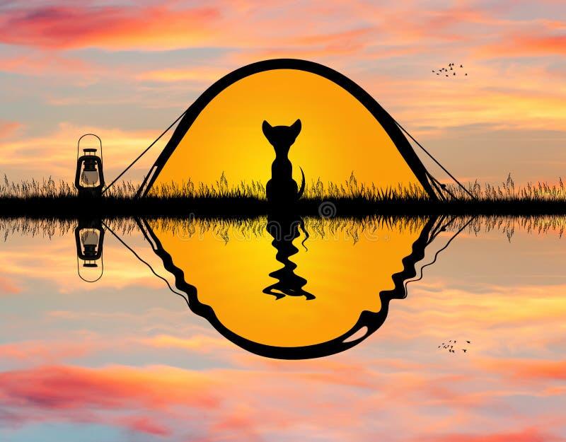 Hond in tent het kamperen stock illustratie