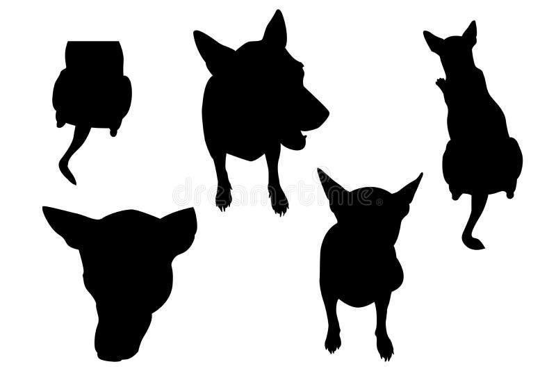 Hond vastgestelde silhouet en het knippen weg inbegrepen om de achtergrond gemakkelijk te verwijderen stock illustratie