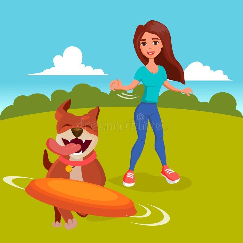 Hond Walker Vector Het lopen met Huisdieren Ga voor een gang Vlakke beeldverhaalillustratie vector illustratie