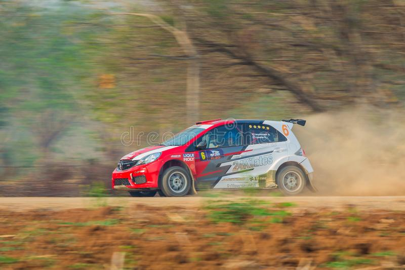 Honda Brio, f2thailand zlotny Lampang w Tajlandia 31-3-2019 mistrzostwo fotografia stock