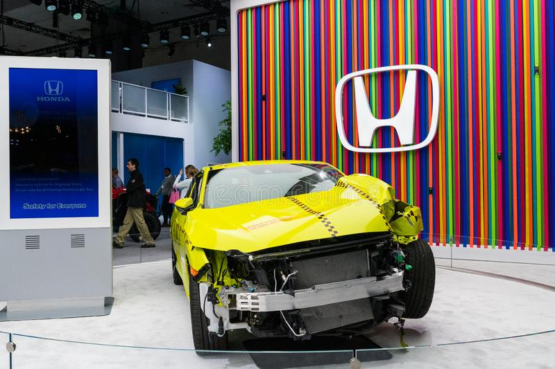 Honda Civic coupe crash test on display during Los Angeles Auto Show royalty free stock image