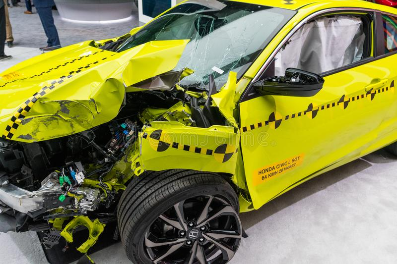 Honda Civic coupe crash test on display during Los Angeles Auto Show royalty free stock photo