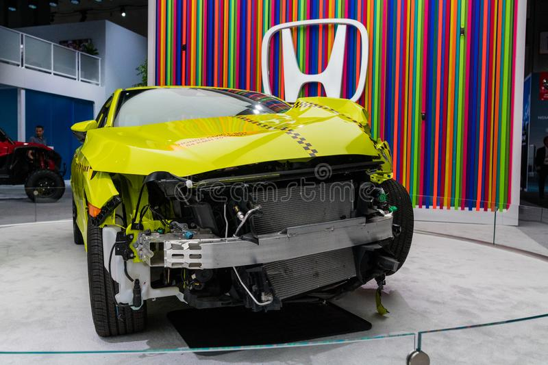 Honda Civic coupe crash test on display during Los Angeles Auto Show royalty free stock photography