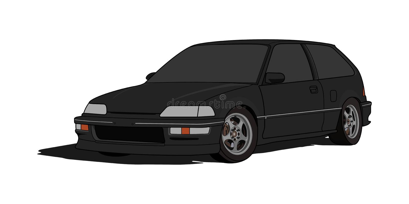 Honda Civic EF Hatchback w wektorze ilustracji