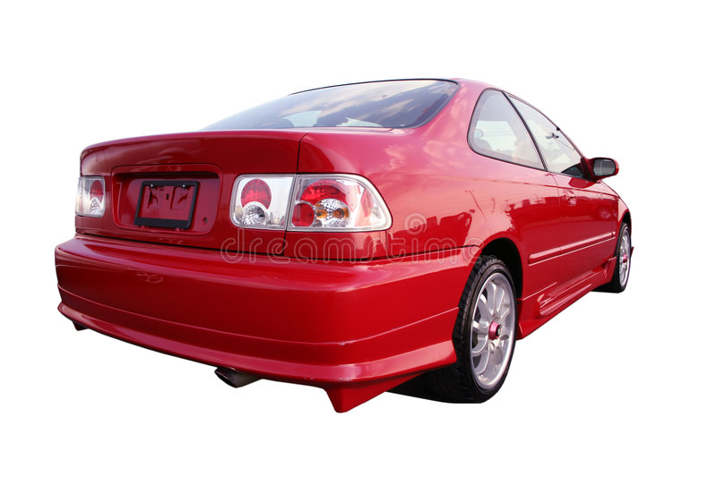Honda Civic EX - Red 1. Isolated red Honda Civic from the rear passenger side 3/4 view royalty free stock image