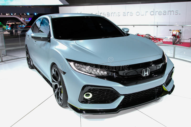 A Honda Civic Hatchback prototype exhibit at the 2016 New York International Auto Show stock photo