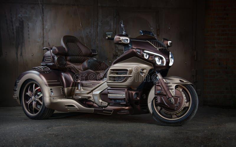 Honda gold wing gl-1800 trike custom motorcycle. Custom motorcycle honda gold wing gl-1800 trike stock photo