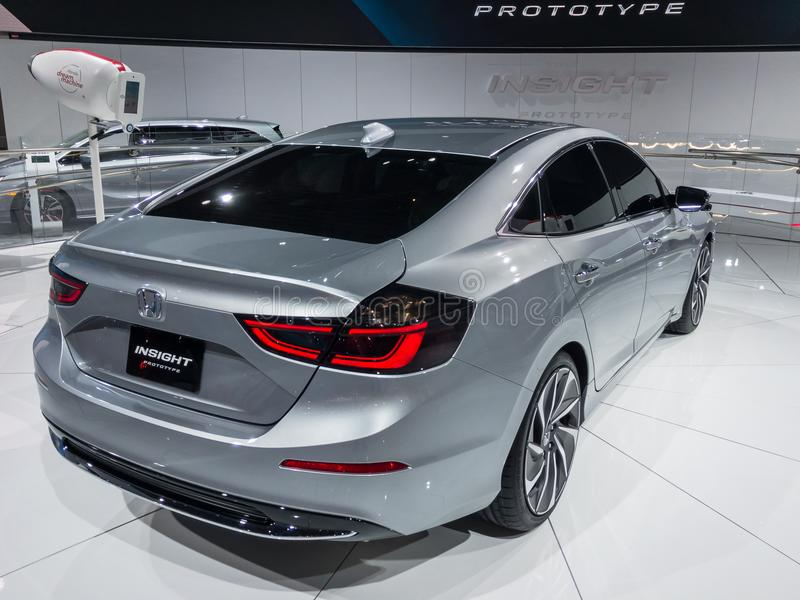 2019 Honda Insight, NAIAS. DETROIT, MI/USA - JANUARY 16, 2018: A 2019 Honda Insight car at the North American International Auto Show NAIAS, one of the most royalty free stock photos