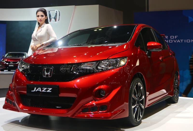 Honda Jazz-vervaardiging door Honda Motor-Bedrijf, Ltd van Japan, tijdens wordt getoond die stock foto