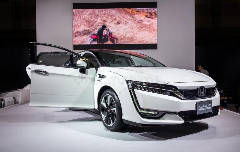 Honda klarowno?ci Fuel Cell samoch?d przedstawiaj?cy na Nagoya Motorowym przedstawieniu 2015 w Nagoya, Japonia fotografia stock