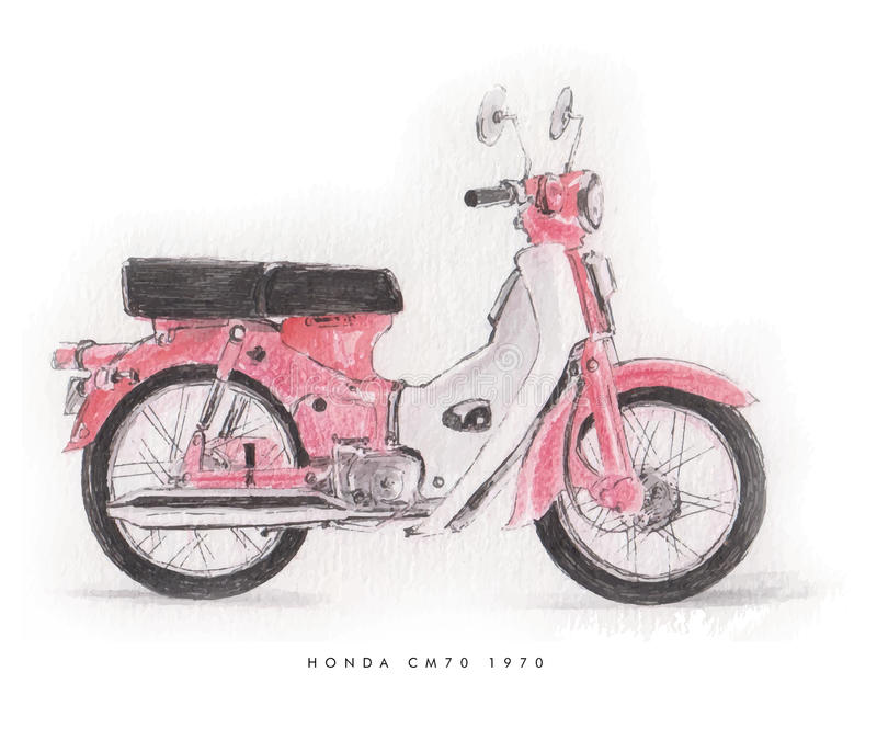 Honda klassisk motorcykel c70 1970 royaltyfri illustrationer