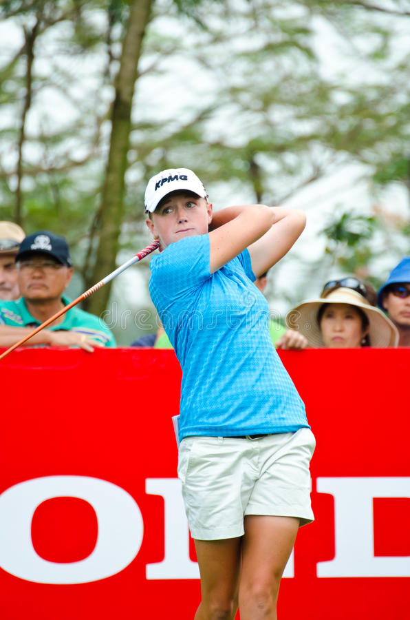 Honda LPGA Thailand 2013. CHONBURI - FEBRUARY 22-24: Stacy Lewis of USA players in Honda LPGA Thailand 2013 at Siam Country Club, Pattaya Old Course on February royalty free stock photo