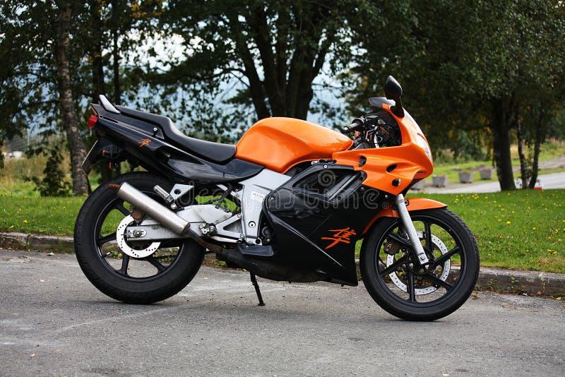 Honda NSR Super Sprint 125 Motorcycle orange and black royalty free stock photo