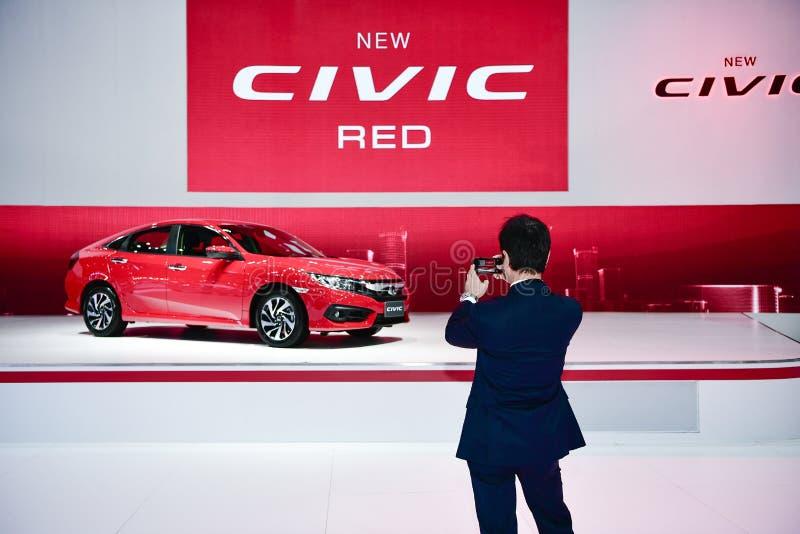Honda nytt MEDBORGERLIGT RÖTT på expon för Thailand Internationalmotor arkivfoto