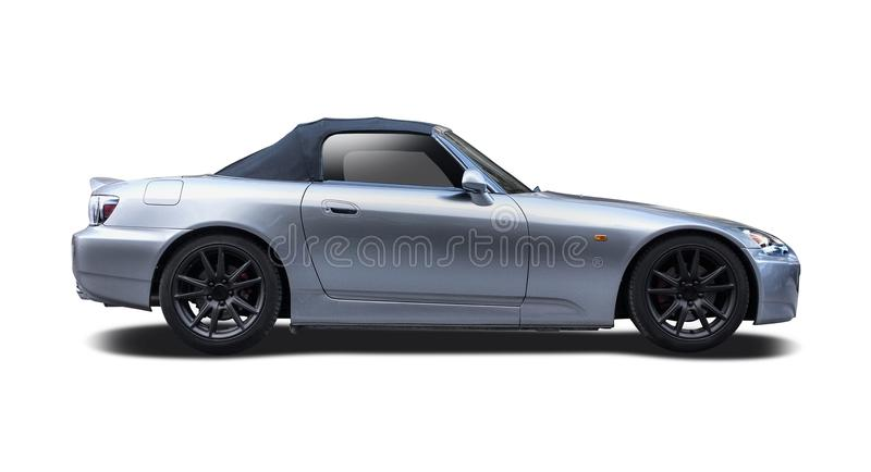 Honda S2000 isolated on white. Silver roadster car isolated on white royalty free stock image