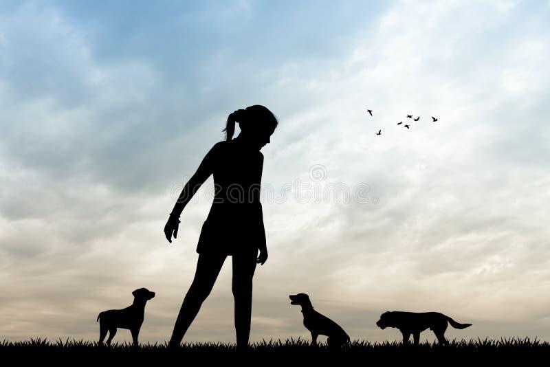 Hondbabysitter bij zonsondergang stock illustratie