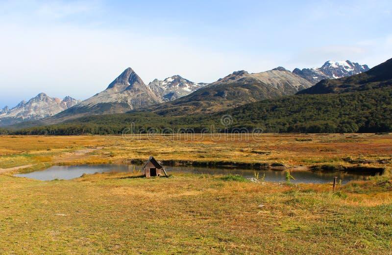 Hondehok door mooi platteland wordt omringd dat stock foto's