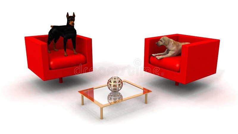 Honden in de zitkamerruimte vector illustratie