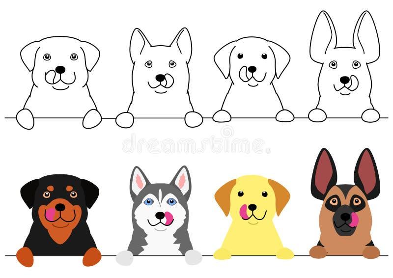 Honden die hun lippen op een rij likken stock illustratie