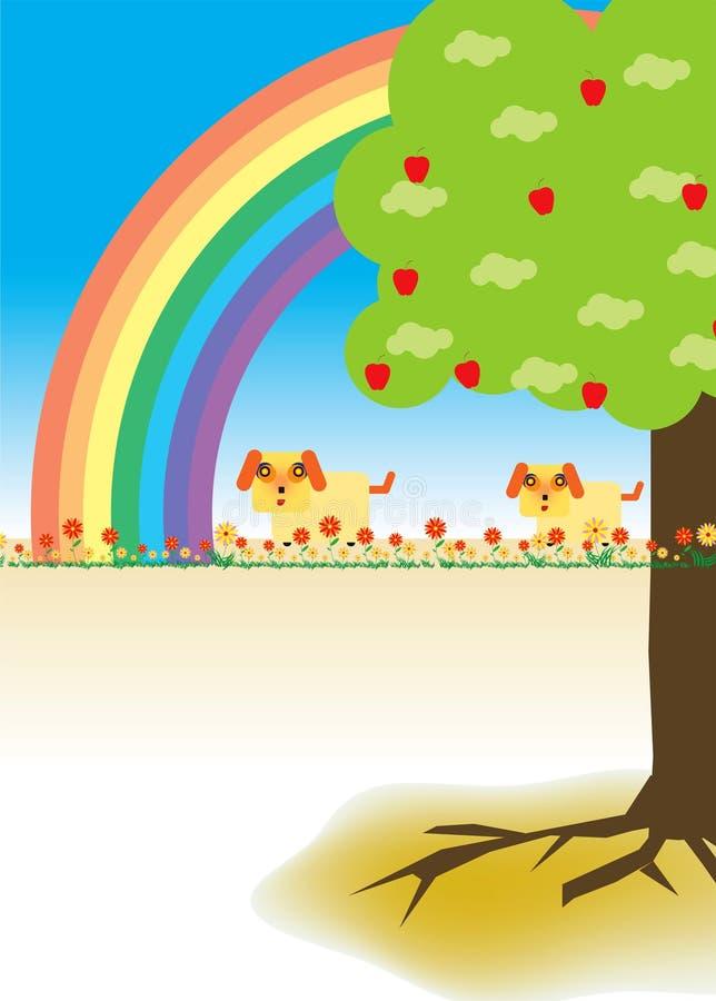 Honden en Regenboog stock afbeelding