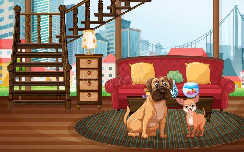 Honden en woonkamer stock illustratie