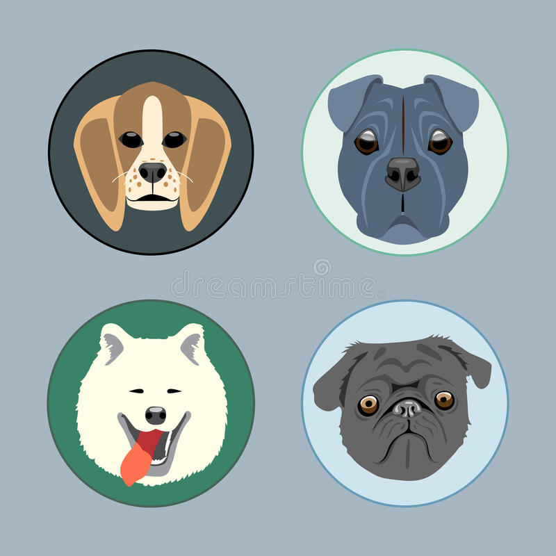 Honden geplaatst vlakke stijl Schor, rottweiler, victorian taxa, royalty-vrije illustratie