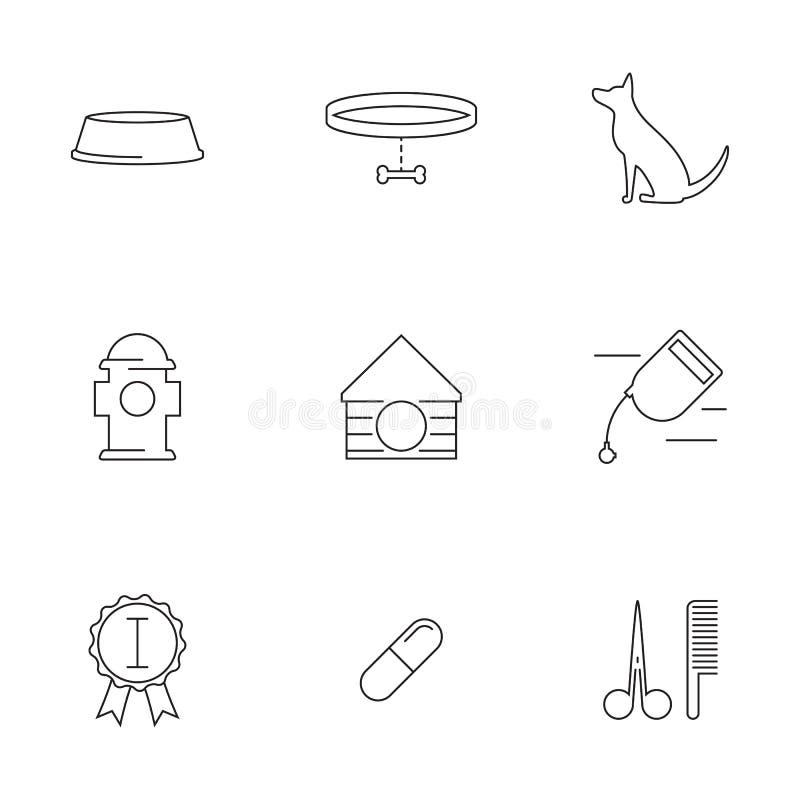 Honden lineaire pictogrammen royalty-vrije illustratie