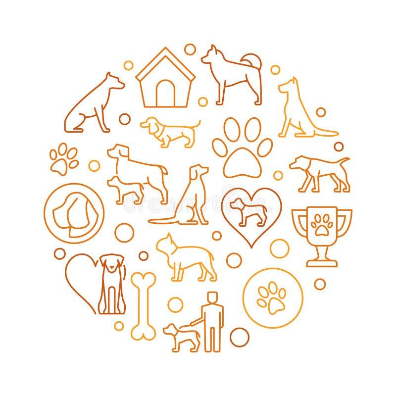 Honden om kleurrijke illustratie stock illustratie