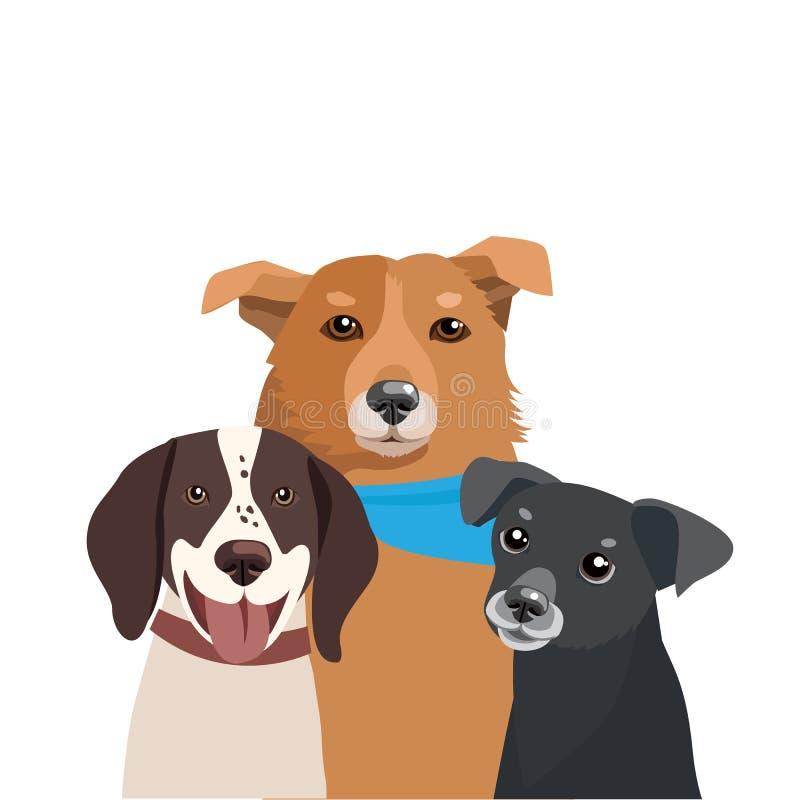 Honden van Verschillende Rassenvector Drie Grappige Hondenillustratie royalty-vrije illustratie