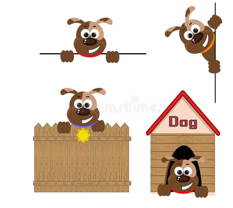 Honden, vastgestelde pictogrammen. stock illustratie
