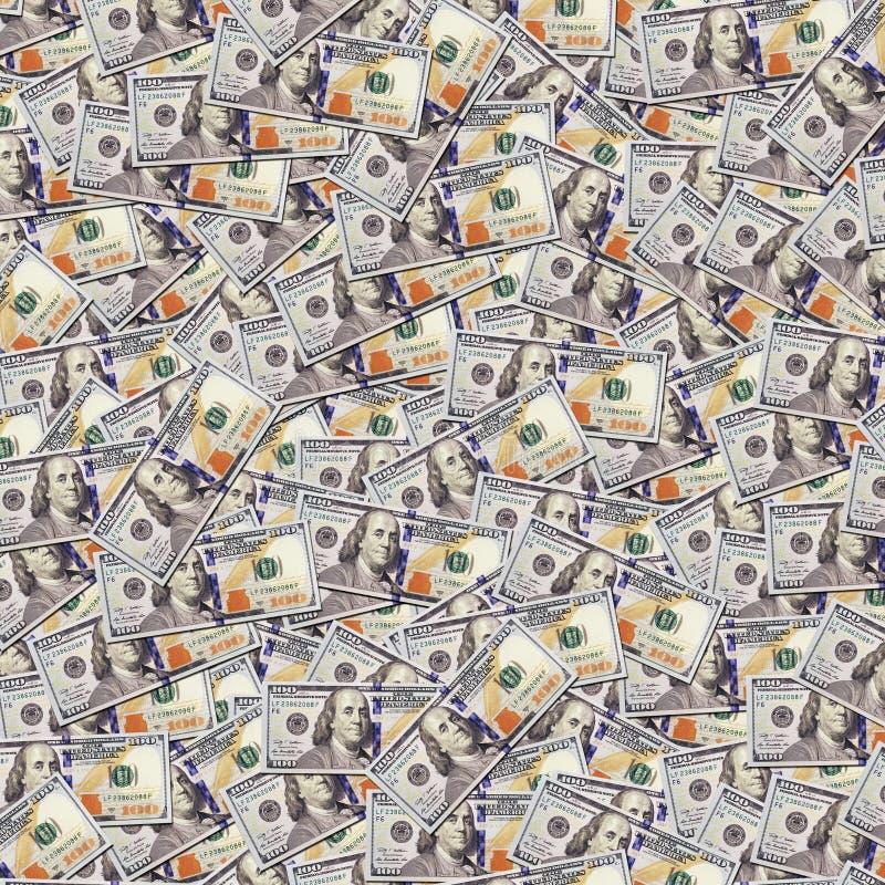 Honderd dollar bankbiljettenachtergrond Geld royalty-vrije stock fotografie