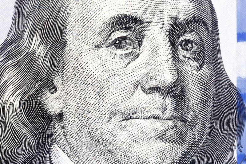 Honderd dollars Benjamin Franklin-portret USD, Verenigd royalty-vrije stock fotografie