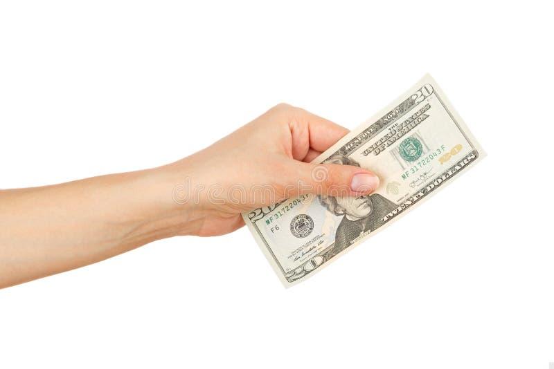 Honderd dollars in de geïsoleerde vrouwen` s hand, royalty-vrije stock afbeeldingen