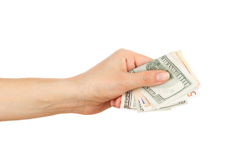 Honderd dollars en Vijftig euro in de vrouwen` s hand stock fotografie