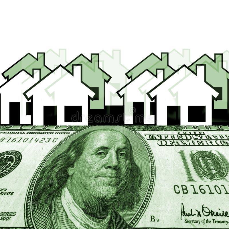 Honderd dollars met huizen op de achtergrond stock illustratie