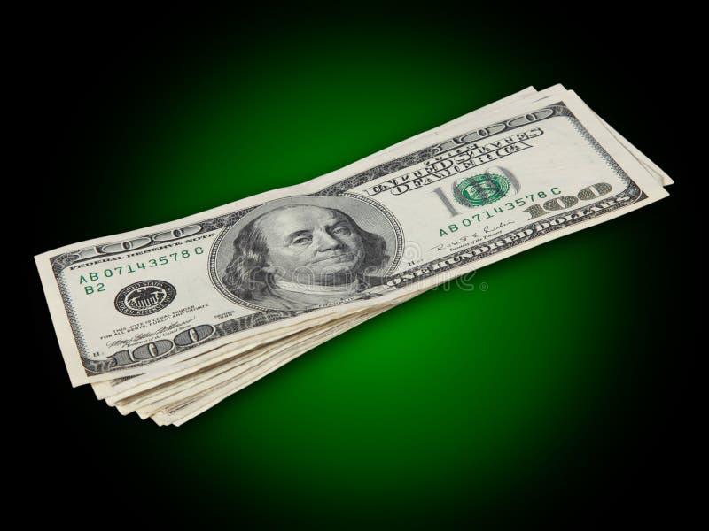 Honderd dollarsrekeningen met overzicht stock fotografie