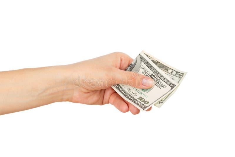 Honderd twintig dollars in de vrouwen` s hand, die op wit wordt geïsoleerd stock afbeeldingen